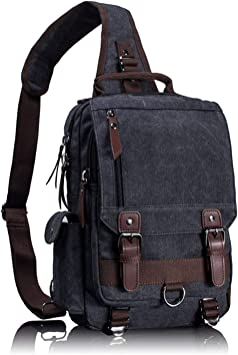 BigB Cross Body Chest Shoulder Bag One Strap Vintage Grey Black Leather Backpack