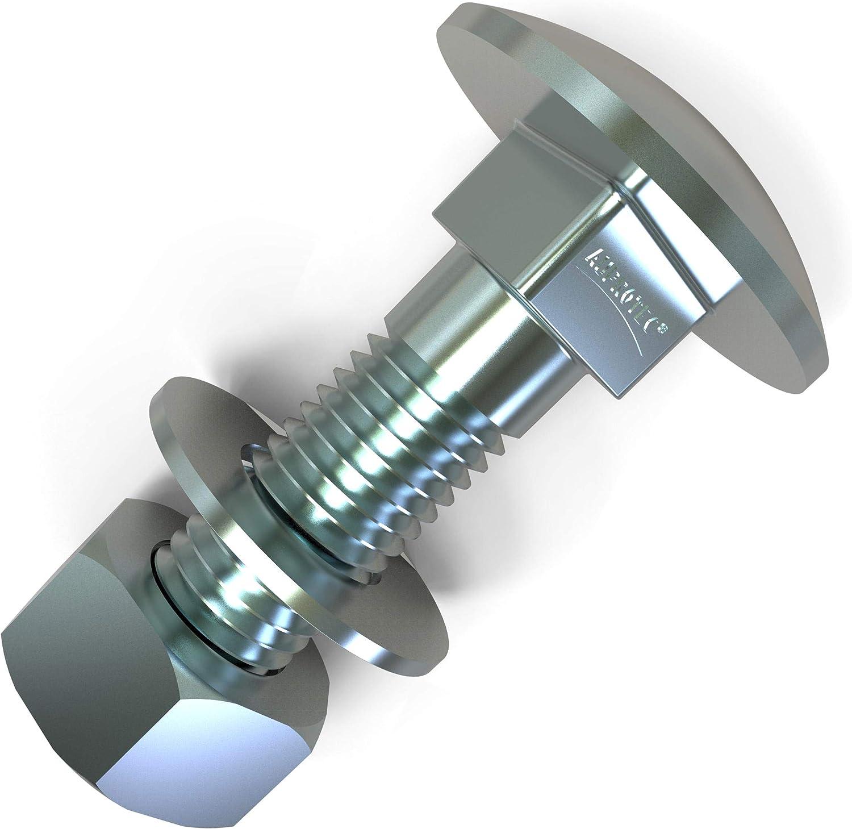 10x M12x140 10 x Boulons M12 x 140 t/ête ronde collet carr/é Vis TRCC avec /Écrou et Rondelle Longueurs 30-160mm choix