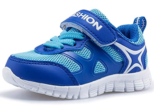 a5437414071233 DADAWEN Boy s Girl s Toddler s Lightweight Breathable Strap Sneakers Casual Running  Shoes Multiple Colors Blue US Size