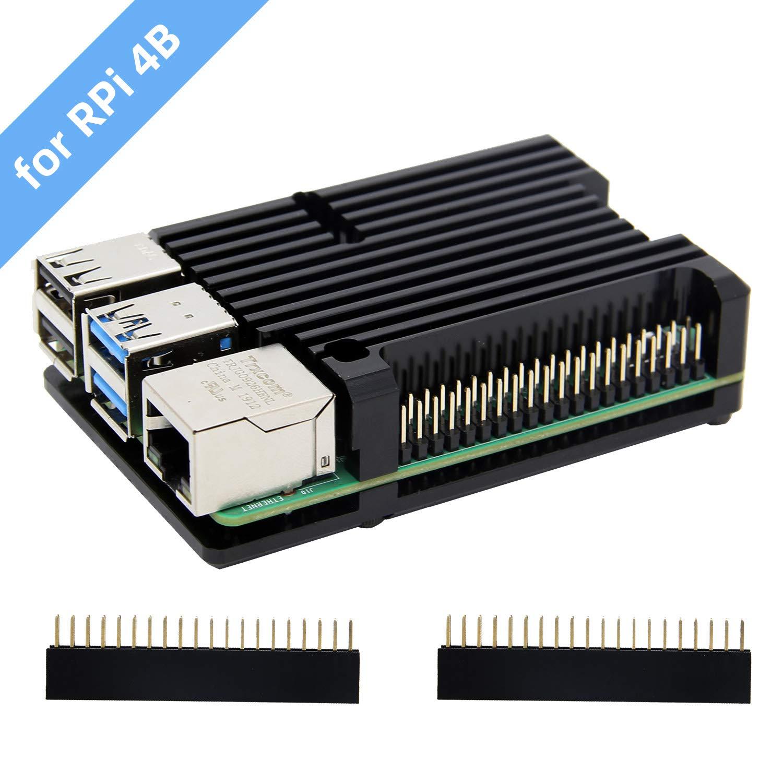 Carcasa de disipador térmico Raspberry Pi 4 con ventilador Dual, carcasa de aleación de aluminio Raspberry Pi 4B/carcasa de refrigeración pasiva para ...