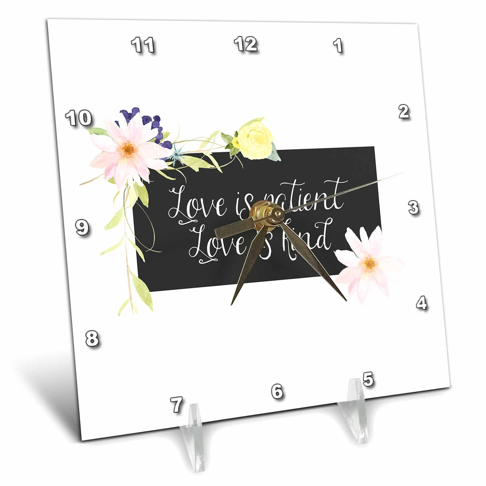 3dRose PS Inspiration - Picturing Love is Patient Watercolor Floral - 6x6 Desk Clock (dc_270978_1)