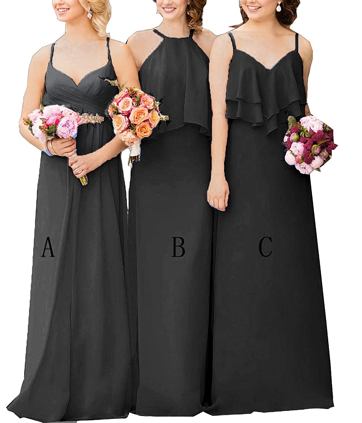 2f1cf056a5982 Top1: Cdress Chiffon Long Bridesmaid Dresses Straps Maxi Wedding Prom Dress  Evening Formal Gowns