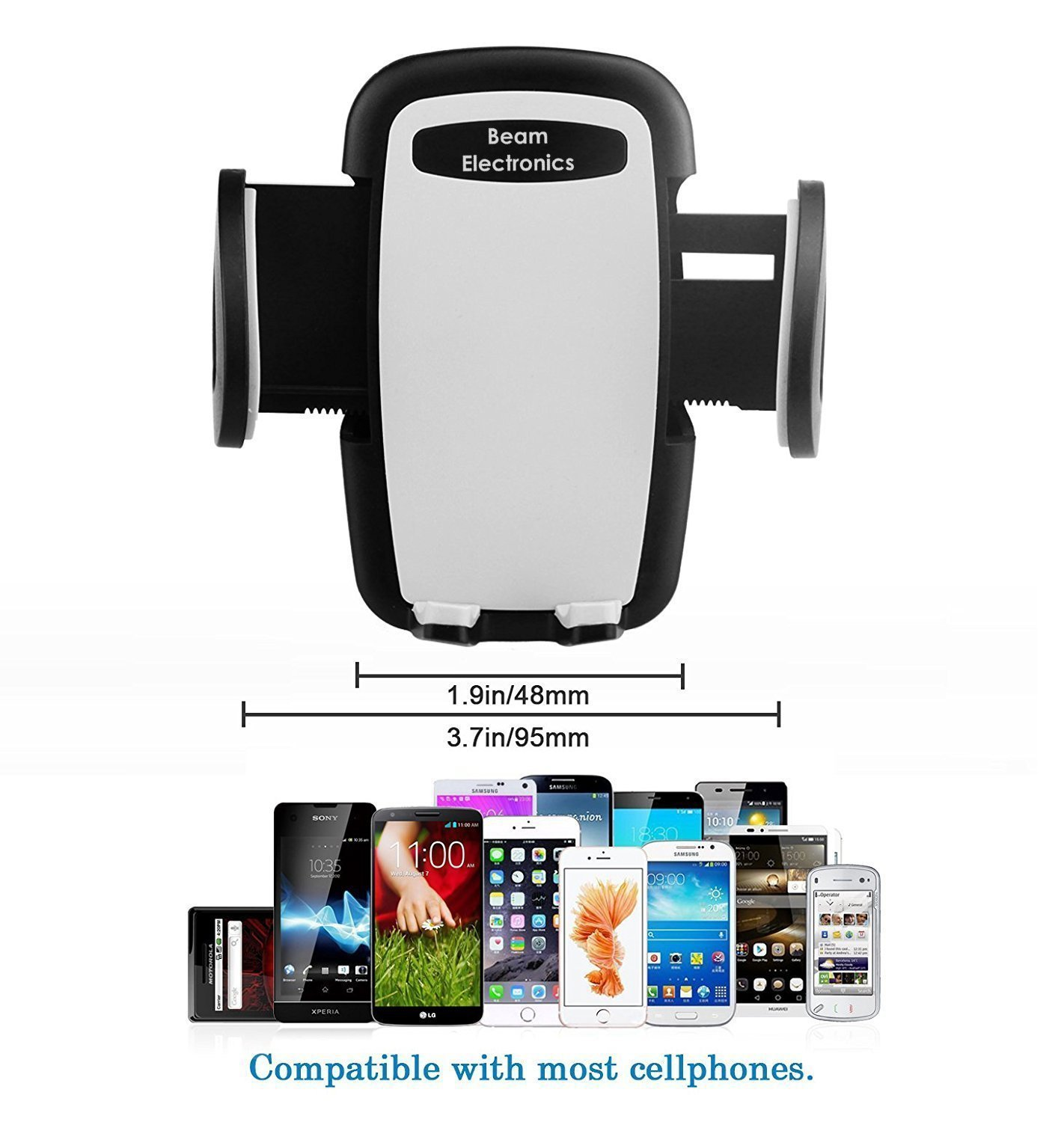 Beam Electronics Universal Smartphone Car Air Vent Mount Holder Cradle Compatible with iPhone X 8 8 Plus 7 7 Plus SE 6s 6 Plus 6 5s 5 4s 4 Samsung Galaxy S6 S5 S4 LG Nexus Sony Nokia and More… by Beam Electronics (Image #8)