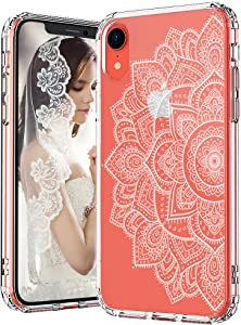 MOSNOVO White Floral Henna Mandala Flower Pattern Designed for iPhone XR Case - Clear