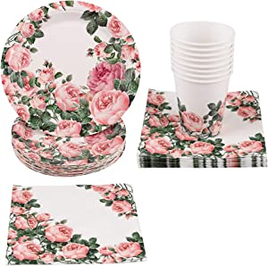 PartyFun 100PCS Party Paper Goods for Adults Mother's Birthday Party for Women Includes Disposable Plates, Cups, Napkins, For Tea Party, Weddings, Birthdays, Baby Shower and Anniversary, for 25 Guests