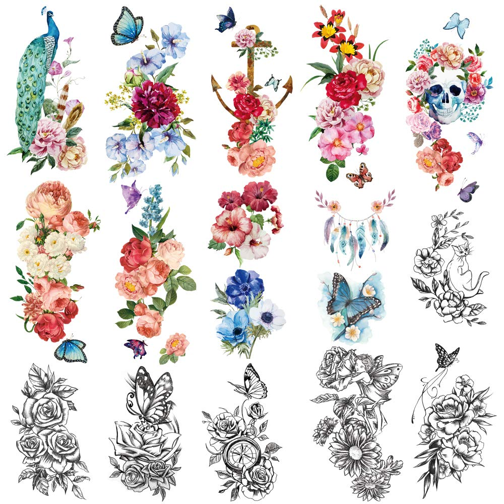 Yazhiji 15 sheets large Sexy waterproof Temporary Tattoos for Men Women Flowers Collection (19X9 CM)