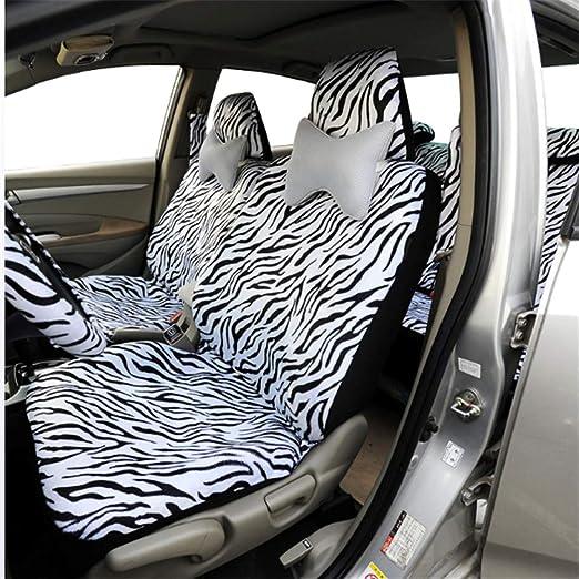Pc-Lhd Universale Fit Car Seat Cover Breve Peluche Zebra Assorbente Antiscivolo Lavabile con coprivolante Copri Spalla Bianco