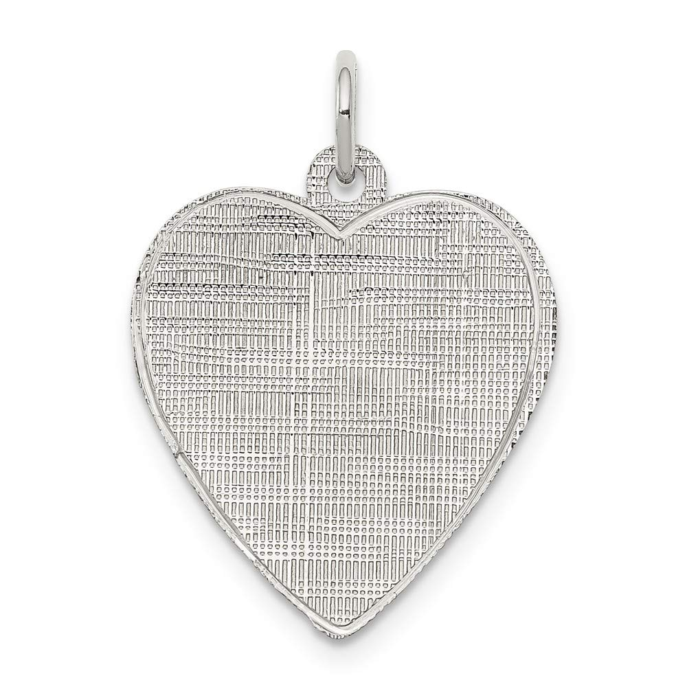 Satin Back Disc 925 Sterling Silver Rhodium Plated Engraveable Heart Patterned Polished Front