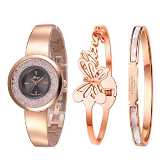 8a6b87034d5 Image Unavailable. Image not available for. Color  Xinge Watch Bangles Bracelet  Set for Women Rose Gold ...