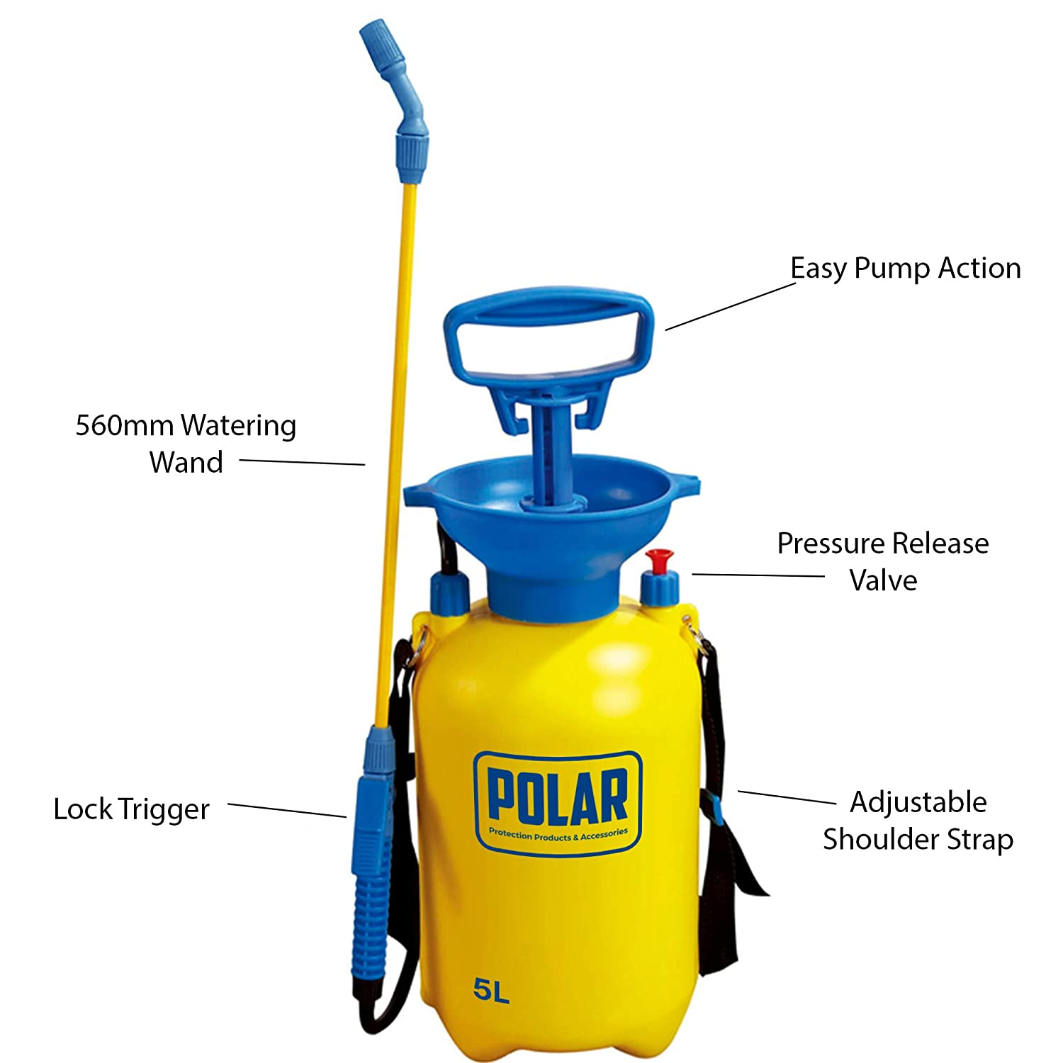 Herbicides and Fungicides Polar Premium 5 Litre Pump Action Pressure Garden Sprayer with Safety Valve and Shoulder Strap Pesticides Use with Weed Killer Chemical Sprayer