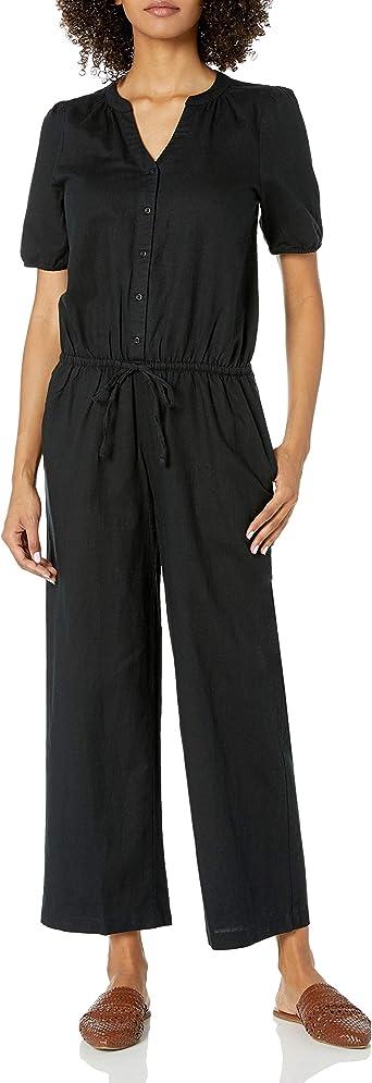 Goodthreads Womens Washed Linen Blend Button Front Jumpsuit Brand