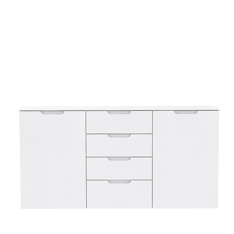 NEWFACE Moderne Kommode mit Hochglanzfront, Holz, x Weiß Hochglanz, 164.6 x Holz, 34.1 x 84.9 cm c6e6eb