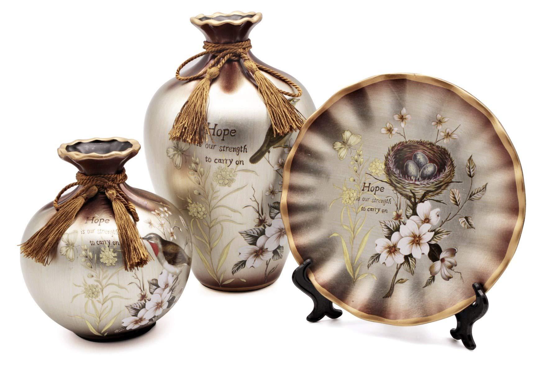NEWQZ China Vase, Ceramic Vase Set of 3 Pieces, Chinese Porcelain Vases, Color: Silver Ash