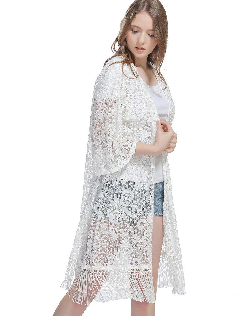 Genovega Lace Women's Beach Kimono Cover up – Summer Sleeve White Soft Crochet Ruana Bikini Cover Swimwear Swimsuit Coverup Dress Summer Beach Outfit for Ladies