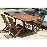 Salon de jardin en bois de teck huilé 4/8 pers Table rect.larg 100cm long 120/170cm + 4 chaises pliantes