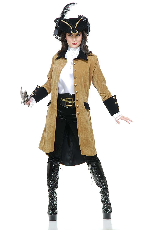 Pirate Women's Tan Faux Suede Elegant Vixen Costume Coat - DeluxeAdultCostumes.com