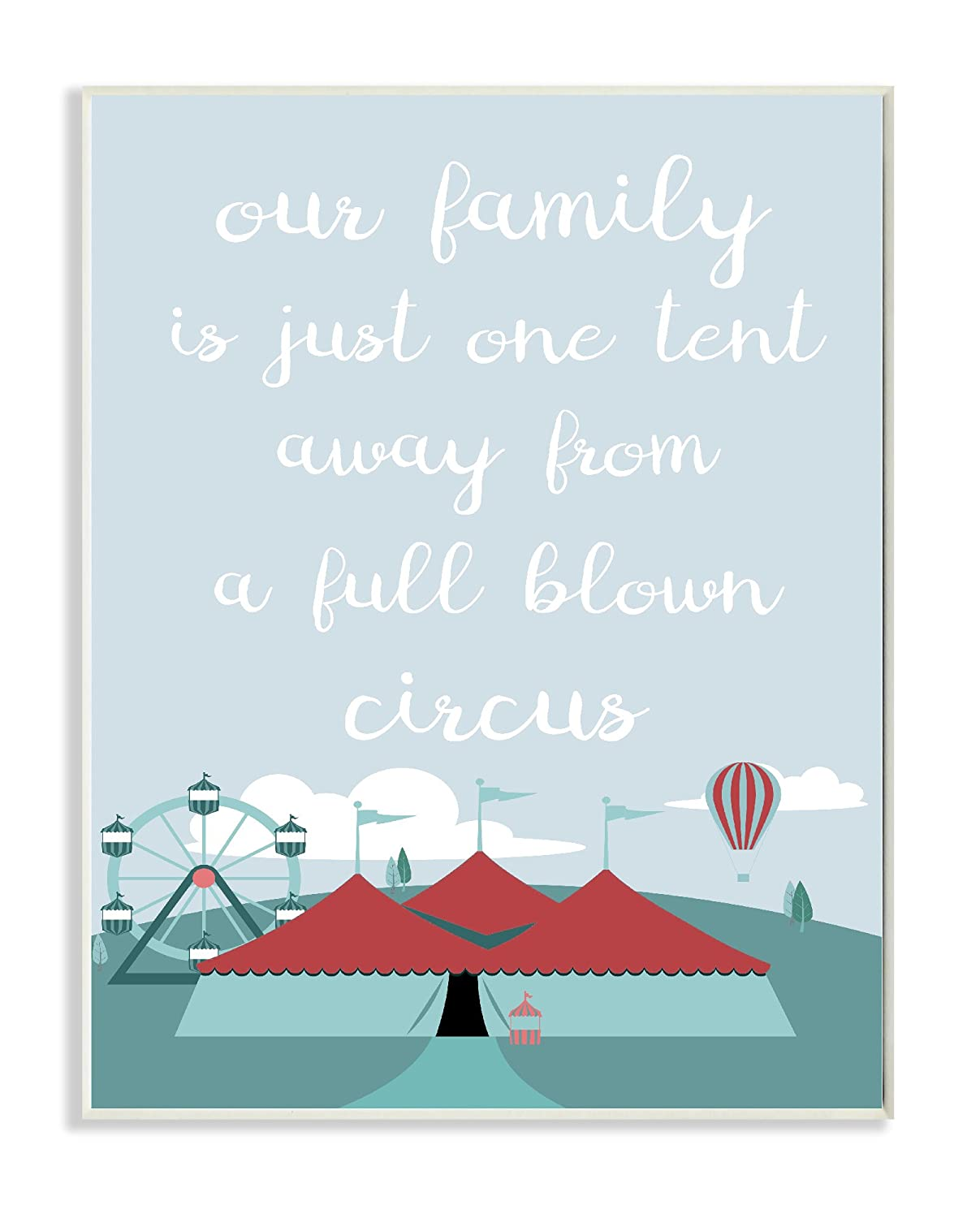 Proudly Made in USA 10 x 0.5 x 15 Stupell Home D/écor One Tent Away From the Circus Illustration Wall Plaque Art