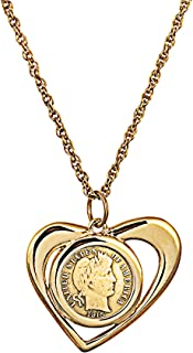 product image for American Coin Treasures Coin Necklace Pendant Golden Open Heart– Genuine Barber Dime Gold-Layered Coin | Goldtone Rope Style Chain and Lobster Claw Clasp | Certificate of Authenticity