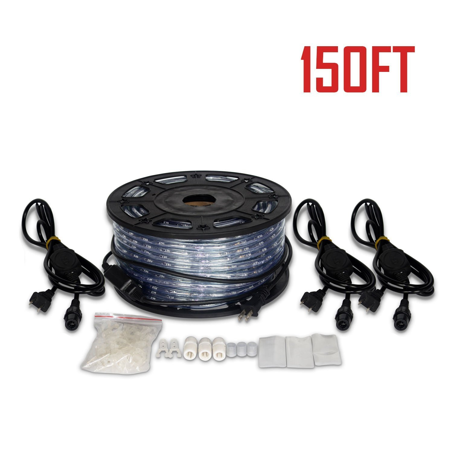 Ainfox LED Rope Light, 150Ft 1620 LEDs Indoor Outdoor Waterproof LED Strip Lights Decorative Lighting (150FT Cold White) by Ainfox (Image #7)
