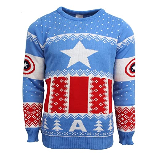 Official Marvel Captain America Ugly Christmas Sweater Blue At
