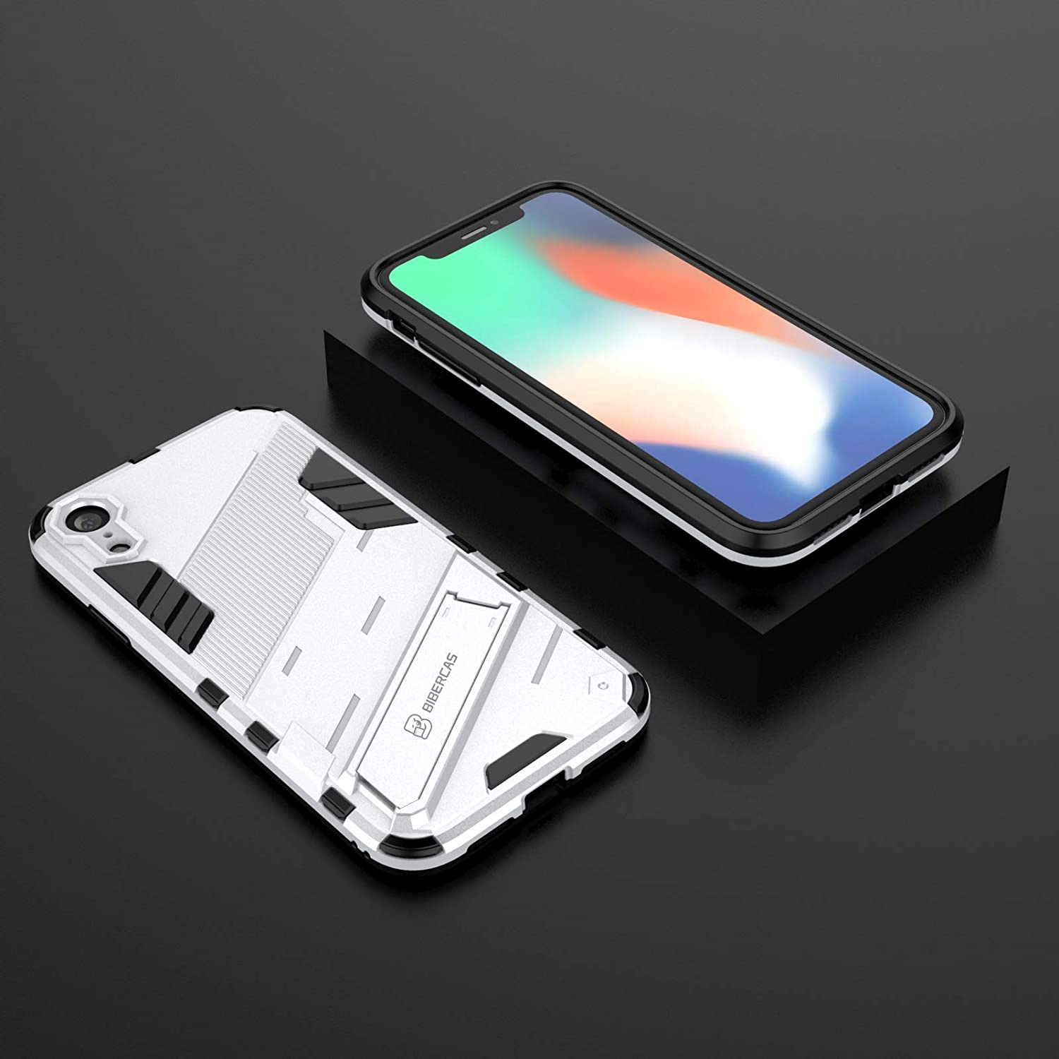 XIAYAN Phone Covers Protective Case for iPhone XR,Protective Shockproof Case Holder,to Protect The Camera,PC & TPU Mobile Phone Case Protective Cover Protective Cover Case Skin (Color : Sliver)