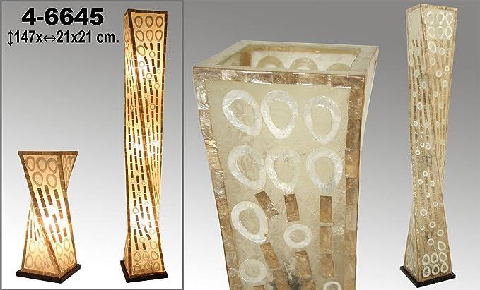 Lámpara de pie de fibra y nácar con forma retorcida decorada ...