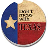 CounterArt Absorbent Stoneware Car Coaster, Don't Mess with Texas
