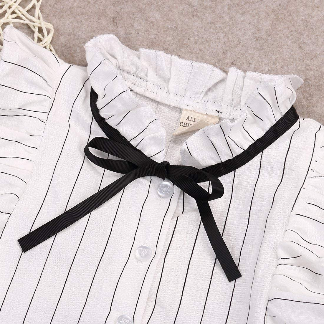 douleway 2 Pieces Kids Girls Ruffles Sleeveless Bow Collar Stripes Shirt Chiffon Top Pleated Skirt Set Outfits 2-7Y