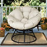ATR Deluxe 360 Swivel Papasan Chair with Soft Cushion, Outdoor Patio Swivel Glider Rocking Lounge Chair, Deep Seating Moon Chair, Solid Twill Fabric Beige Cushion