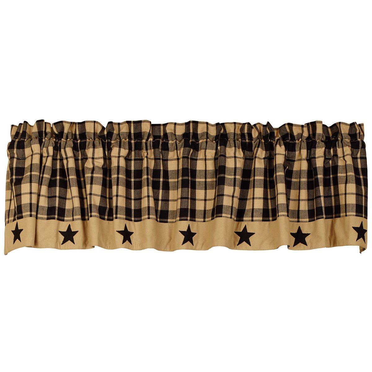 Black, Tan 72  x 14  Black Farmhouse Star 84  Drapery Panels