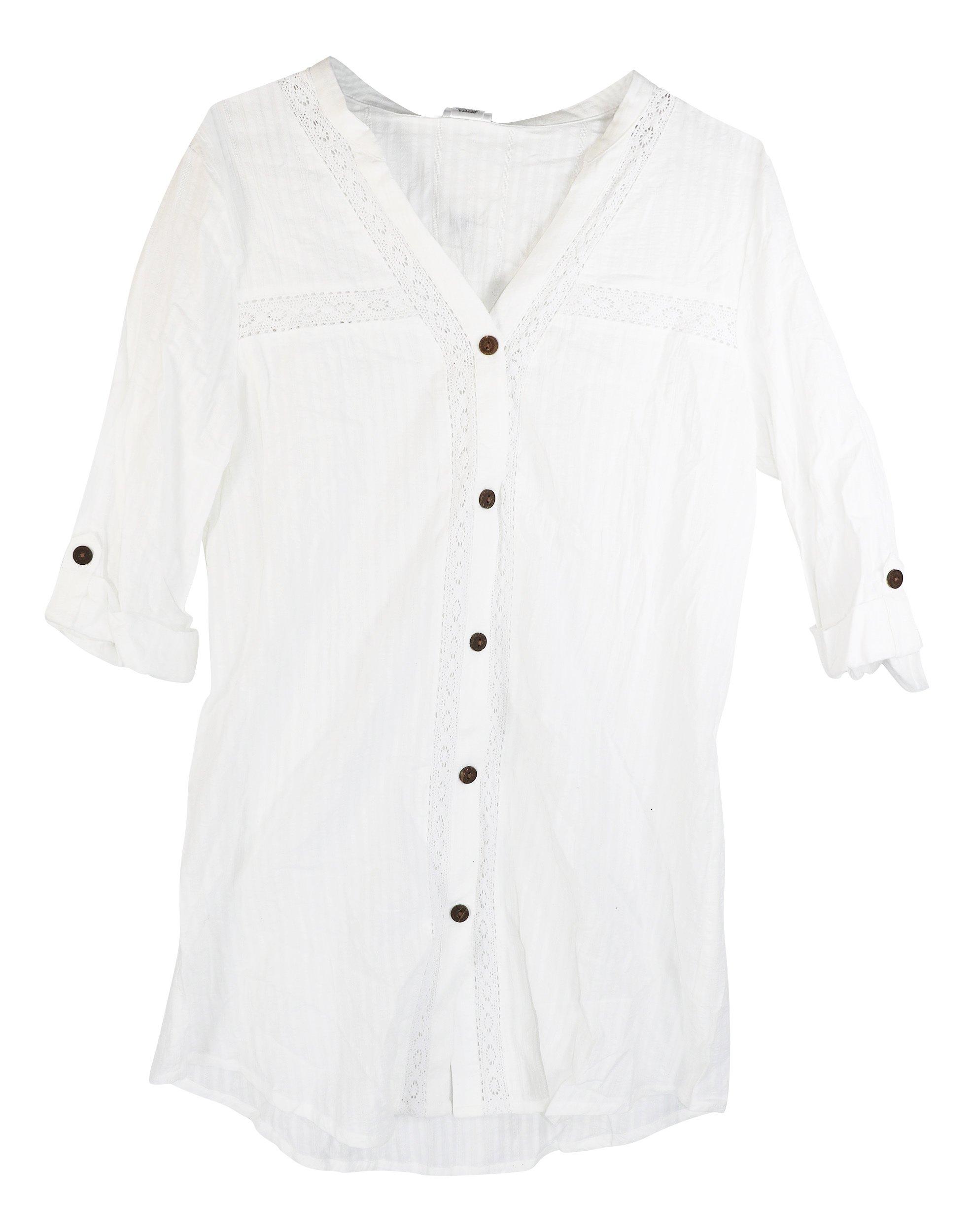 Dotti Sunny Stripe Crochet Woven Shirt Cover-Up, XL, White