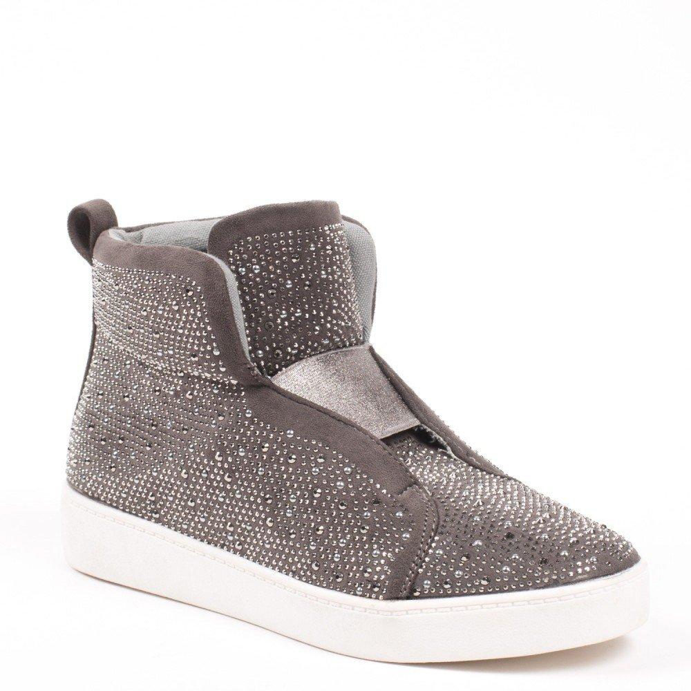 Ideal Shoes Basket Alte Effetto Camoscio e tempestato di strass Adelaide, Grigio (grigio), 39