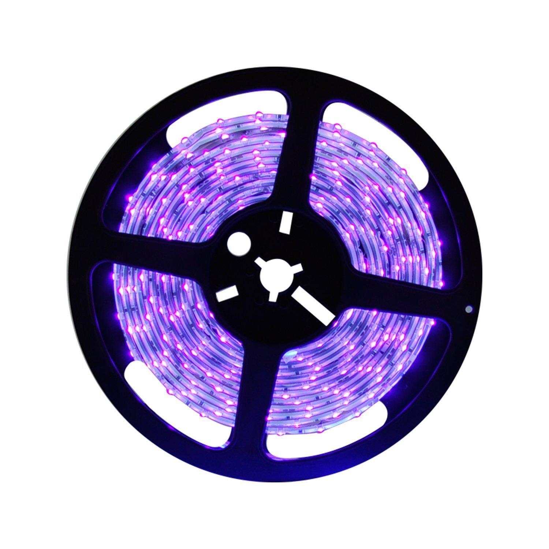 Wasserdichter UV Schwarzlicht LED Streifen 5 Meter mit 300 Stück 3528 UV-SMD, 12V Netzteil und IP65 Zertifizierung. Lichterkette / Lichtstreifen [Energieklasse A+]