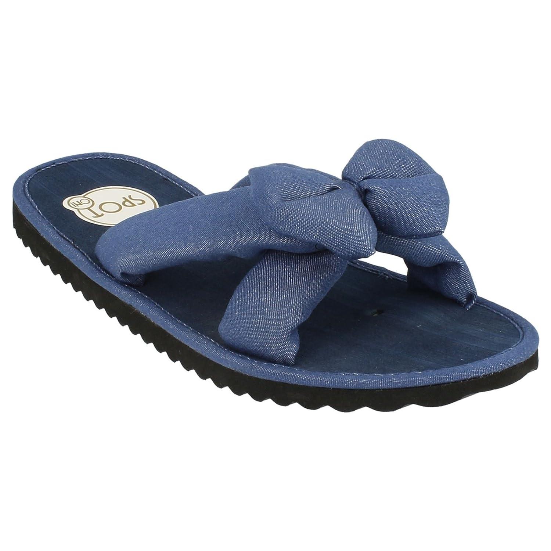 Ladies Spot On Summer Flip Flops Denim Mules