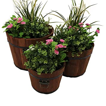 Direct Global Trading Set Of 3 Wooden Whisky Barrel Garden Outdoor Planters  (Small, Medium
