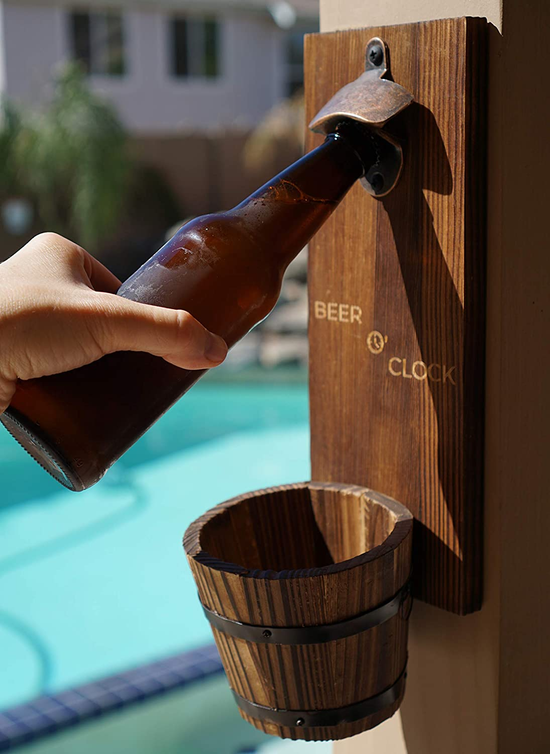 Thirsty Solutions – Beer O Clock Rustic Wall Mounted Bottle Opener and Catcher – Dark Stain Pine with Zinc Alloy Opener – Removable Wooden Bucket – Man or Woman Cave Ready