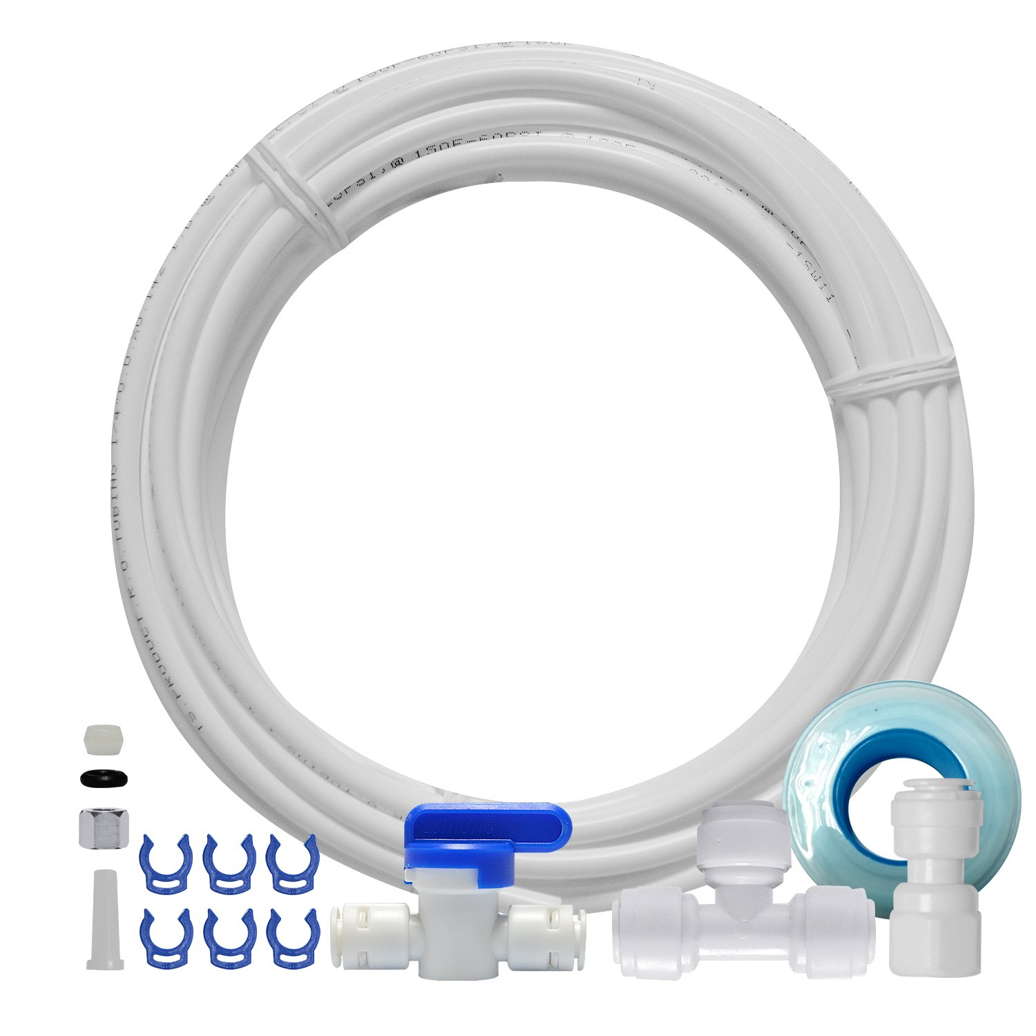 FS-TFC Ice Maker Water Line Kit and Refrigerator Water Line Fridge Water Line Kit for Reverse Osmosis Systems & Water Filters, 25ft 1/4'' Tubing with 1/4'' Push-In and Compression Fittings