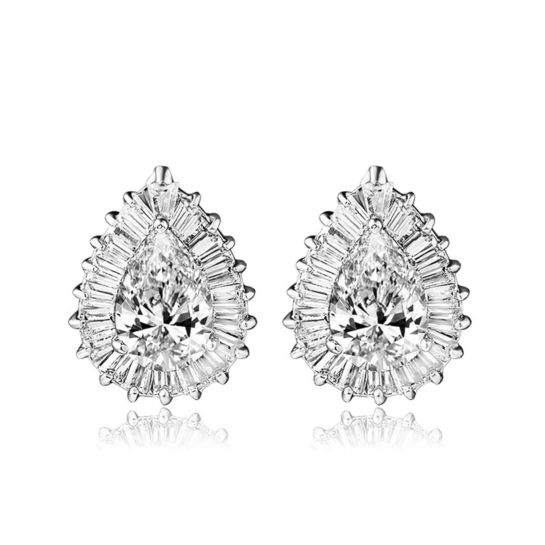 Beydodo Wedding Earrings Teardrop Gold Plated Earrings for Babies Teardrop Pear Cut Cubic Zirconia