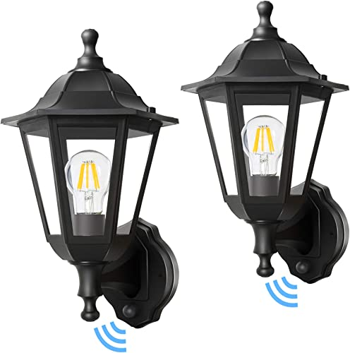 FUDESY 2-Pack Dusk to Dawn Outdoor Light Fixtures,Auto ON/Off Smart Photocell Plastic Outdoor Wall Lanterns,Electric Black Outdoor Lights Wall Mount