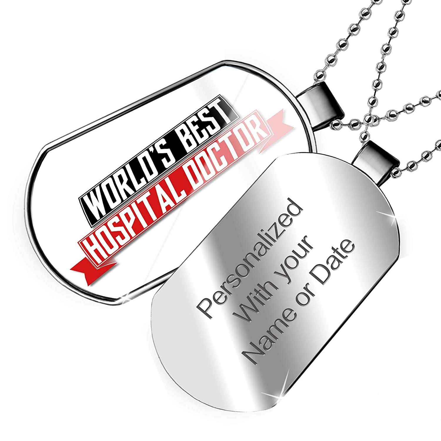 NEONBLOND Personalized Name Engraved Worlds Best Hospital Doctor Dogtag Necklace