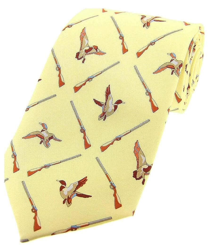 David Van Hagen Pastel amarillo patos voladores y corbata de seda ...