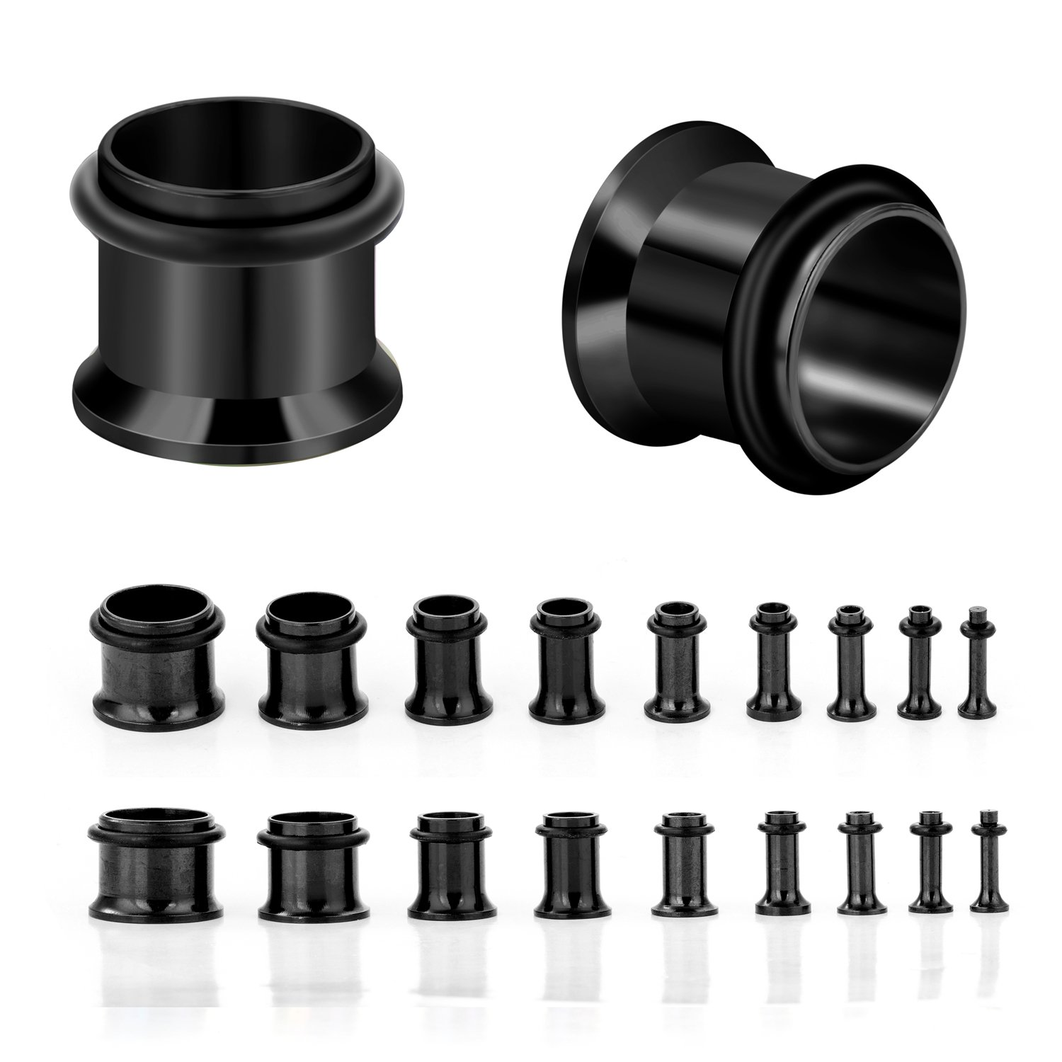 CABBE KALLO 18PCS Ear Plugs Stretching Kit Stainless Steel Gauge Tunnel Set Single Flared Expanders 14G-00G (Black)