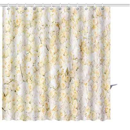 MuaToo Shower Curtain Backgroundof Yellow White Rose Prints Bathroom Decor Set With Hooks Beautiful Graphics