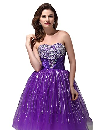 OYISHA Womens Knee Length Sweetheart Sequins Homecoming Prom Dresses Purple 2