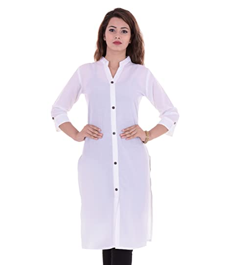 8856e51e857 VAIDIKI Women s White Color Plain Cotton Front Slit Casual Kurti   Amazon.in  Clothing   Accessories