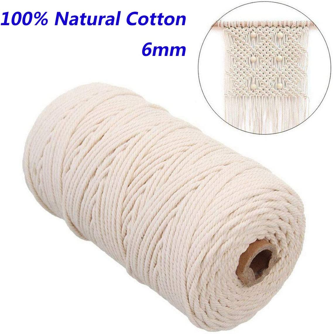 1//4 in x 164 ft Natural Cotton Rope 4 Strand Twisted Rope for Crafts Gift Wrapping DIY Decoration Projects YUZENET Macrame Cord