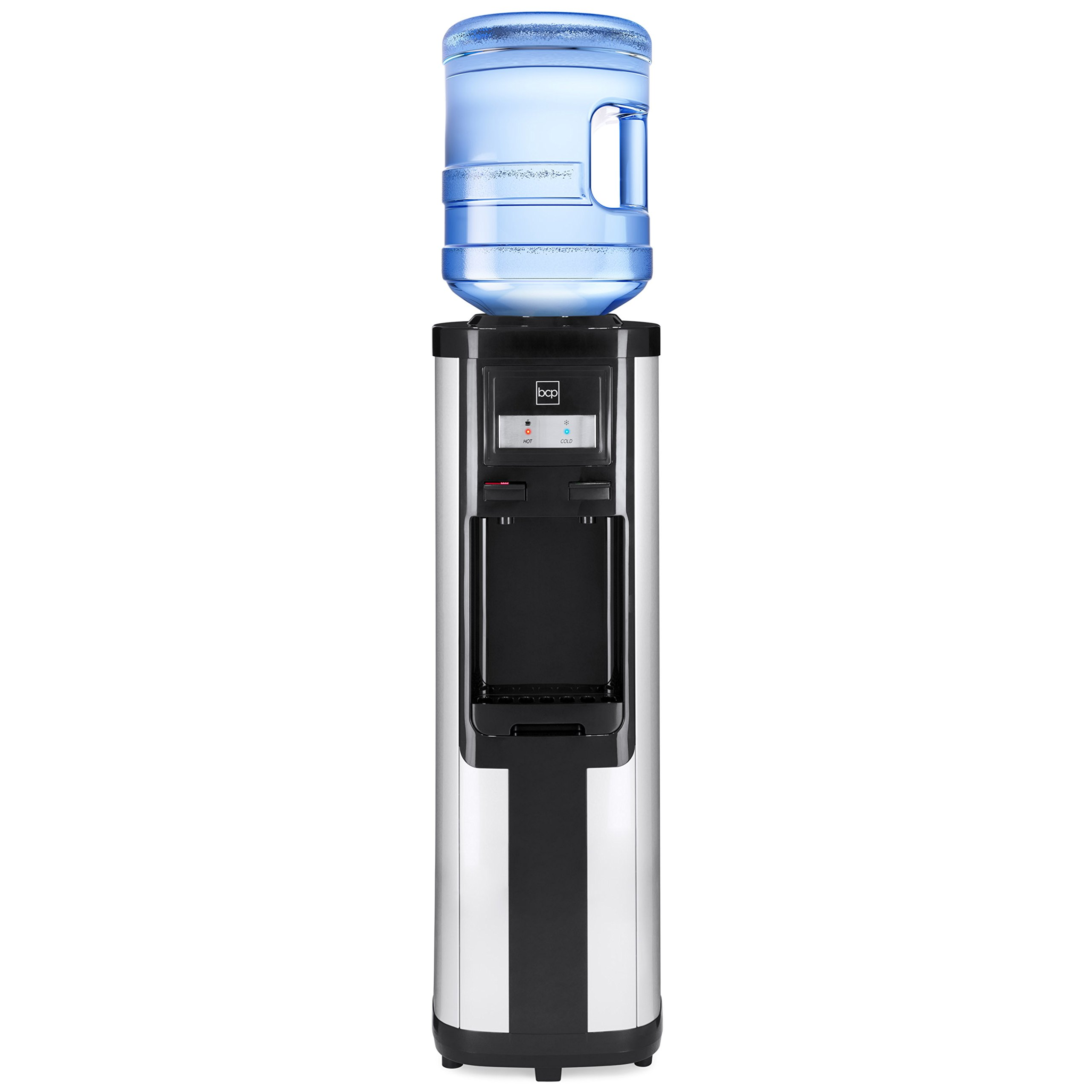Best Choice Products 5-Gallon Freestanding Stainless Steel Top Loading Hot and Cold Water Dispenser - Silver/Black