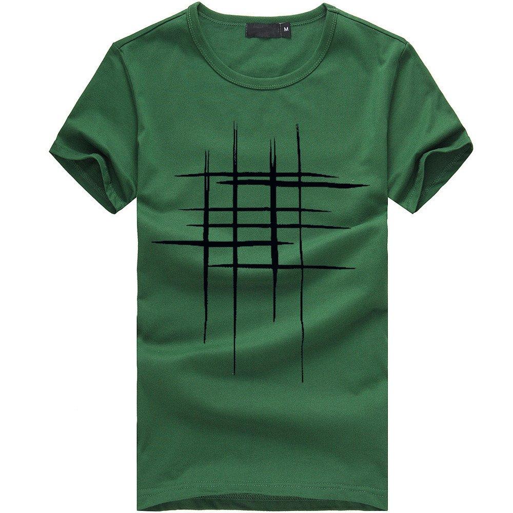 DIOMOR Men Fashion Wild Printing Tees Shirt Short Sleeve Sport T Shirt Cotton Casual Blouse Green