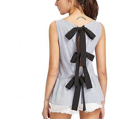 74f911017a65df Ladies Split Bow Tie Back Mixed Stripe Top Blue Sleeveless Top Women Tank  Tops Women Summer