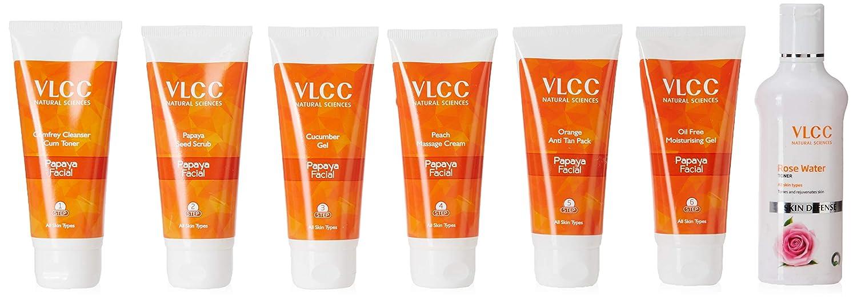 VLCC Papaya Fruit Facial Kit + Free Rose Water Toner, 300 g. – Best Fruit Facial kit for dry skin